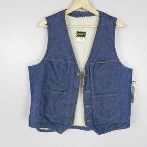 Vintage Wrangler Denim Shearling Vest Size L EUC